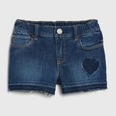 Gap女幼時尚水洗鬆緊腰牛仔短褲542935-心形圖案
