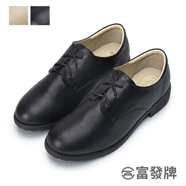 【富發牌】日系微尖頭休閒跟鞋-黑/杏 1CT33