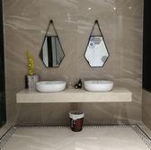 浴鏡北歐六邊形衛生間鏡子浴室鏡洗手間鏡子梳妝鏡壁掛鏡裝飾鏡衛浴鏡 全館免運DF