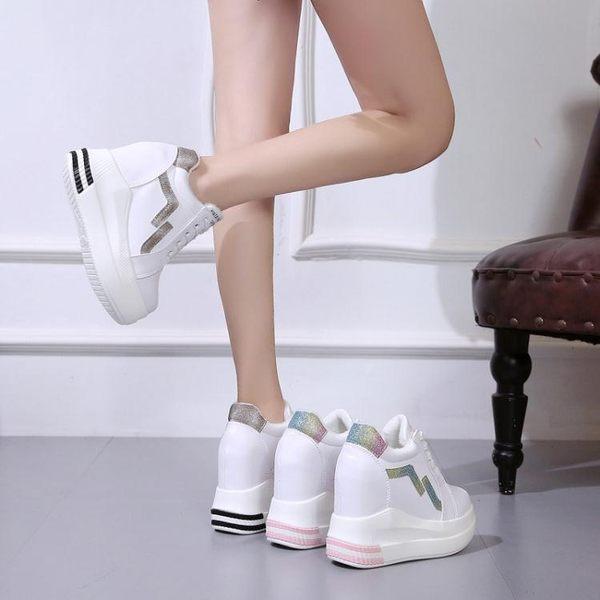 內增高女鞋春季網紅小白鞋女2019新款百搭韓版厚底鞋10厘米鬆糕鞋 降價兩天