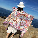 新款時尚棉質柔軟絲巾圍巾 文藝空調披肩 披肩圍巾109