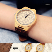 Wreath.手工木造錶。天然竹木民族風圖騰刷舊真皮錶帶手錶/情侶對錶【ta470】*911 SHOP*