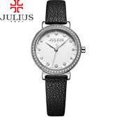 JULIUS 聚利時 翩翩花瓣舞鑽飾皮錶帶腕錶-百搭黑/28mm【JA-965A】