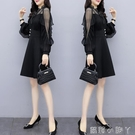2020新款初秋微胖mm連衣裙子遮肚顯瘦洋氣質減齡假套裝高端女神范 蘿莉新品