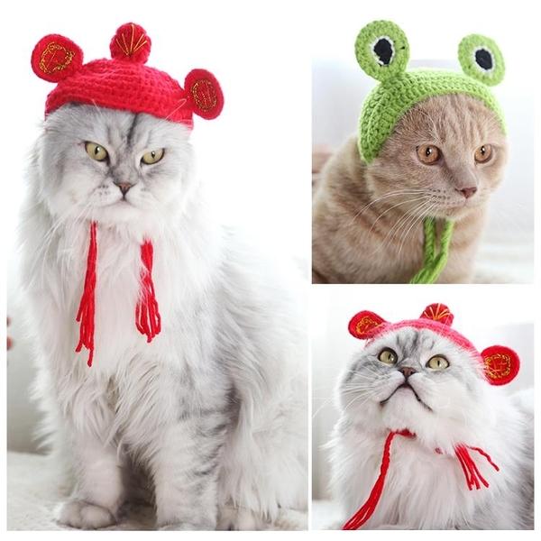全館83折 可愛貓咪變裝帽子寵物貓頭套可愛狗狗帽子貓貓圣誕帽頭飾裝扮圍巾