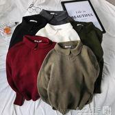 2019新款男士polo衫領套頭毛衣韓版潮流寬鬆純色小清新針織衫 良品鋪子