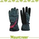 【Mountneer 山林 Primaloft防水手套 M《灰/深桃紅》】12G02/保暖手套/騎車/登山
