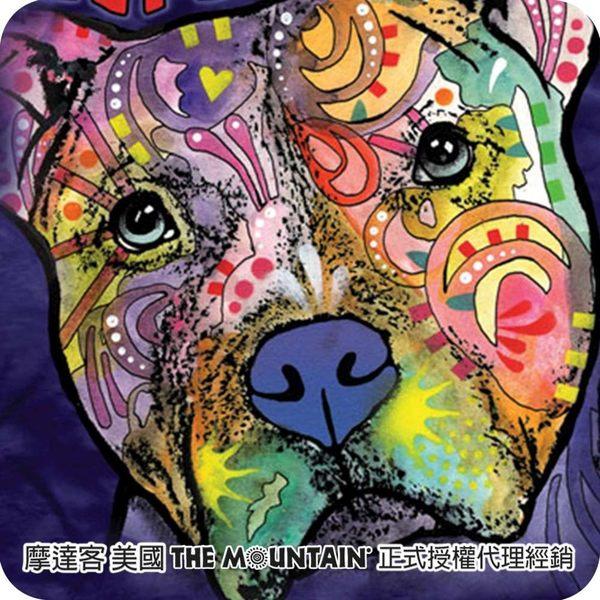 【摩達客】(預購)(大尺碼3XL)美國進口The Mountain 彩繪注視比特犬 純棉環保短袖T恤(10416045116a)