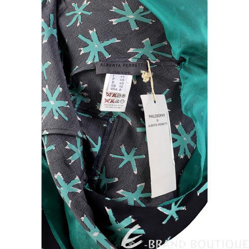 ALBERTA FERRETTI 黑色綠印花單邊綁結紗質洋裝 0510450-99