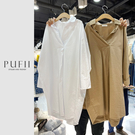 PUFII-洋裝 正韓V領素面襯衫長洋裝-0225 現+預 春【CP18023】