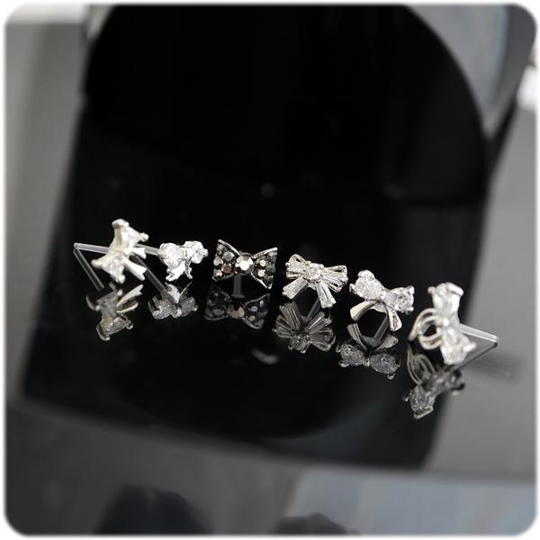 耳環 蝴蝶結系列 - 彩翼 透明耳針 (單只價) i917ღ