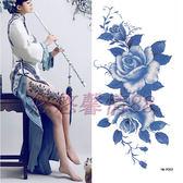 藍色花大圖 防水 紋身貼紙 女款 古裝影樓寫真紋身貼貼紙【非凡】