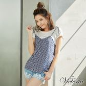 Victoria  真二件式細綁帶背心短袖T-女-白色