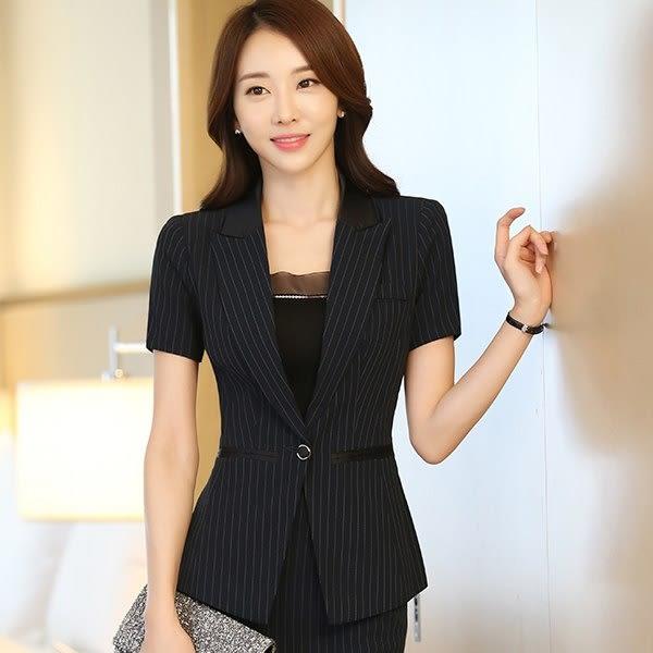 拼接翻領時尚條紋單釦OL短袖西裝外套~美之札