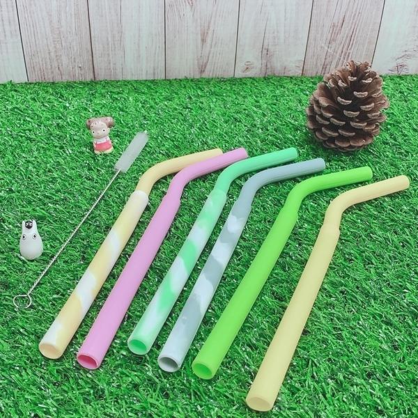 [拉拉百貨]六色螺紋 環保矽膠吸管組 兒童吸管 環保吸管食品級矽膠軟管