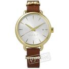 ESPRIT / ES109402002 / 晶鑽 蝴蝶結巧思 礦石強化玻璃 日本機芯 真皮手錶 銀x金框x咖啡 34mm
