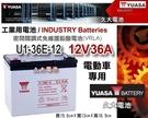 【久大電池】YUASA 湯淺電池 密閉電池 U1-36E-12 12V36AH 電動代步車 電動輪椅 捲線器 露營