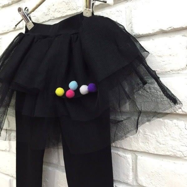 【韓版童裝】彈力磨毛球球蛋糕澎裙/裙褲-粉/黑【BD18100402】