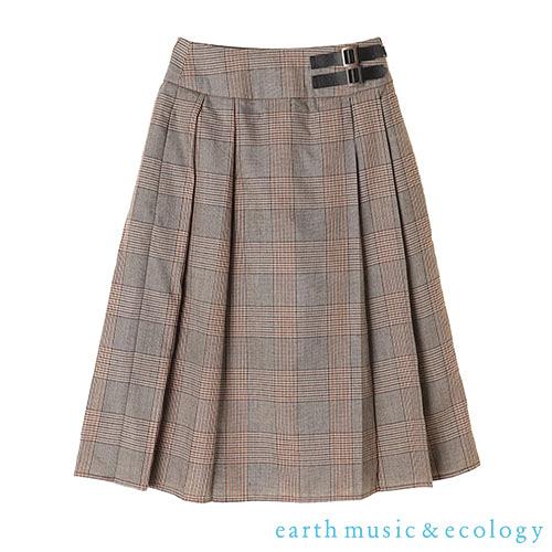 「Hot item」格紋及膝百褶裙 - earth music&ecology