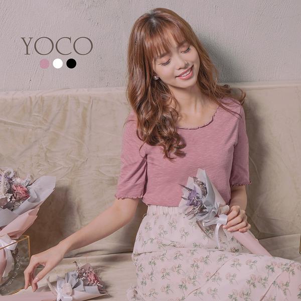 東京著衣【YOCO】親膚舒適多色高含棉木耳捲邊短袖上衣-S.M.L(190308)