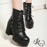 韓系軍裝風鉚釘綁帶造型厚底高跟短靴/偏小一碼/35-39碼/3色 (RX0111-B15-1) iRurus 路絲時尚