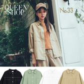 Queen Shop【01023639】撞色車線設計雙口袋長袖襯衫外套 四色售*現+預*