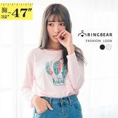 棉T--自然簡約風手繪羽毛與英字撞色印花寬鬆圓領長袖T恤(黑.粉M-3L)-F137眼圈熊中大尺碼