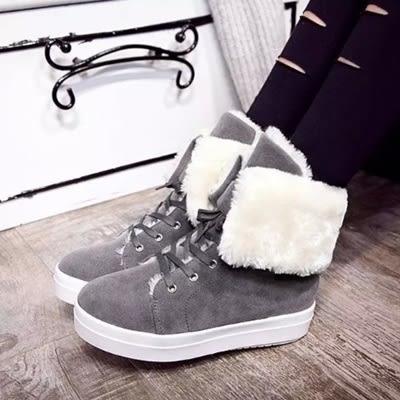 中筒雪靴-時尚學生個性綁帶女厚底靴子4色73kg47[巴黎精品]