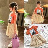 休閒裝 女童夏套裝新兒童韓版短袖T恤蕾絲半身裙兩件套寶寶洋氣衣服 寶貝計畫