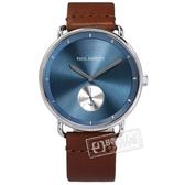 PH PAUL HEWITT / PH-BW-S-NS-57M / 極簡風格 獨立秒針 藍寶石水晶玻璃 真皮手錶 藍x深褐 42mm