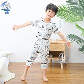帆虎大童莫代爾兒童連體睡衣夏季男童小孩薄款寶寶連體衣短袖哈衣 米娜小鋪
