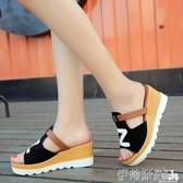 厚底拖鞋2020新款韓版百搭厚底坡跟涼拖鞋女夏季鬆高跟鞋子時尚外穿女拖鞋 伊蒂斯