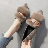 平底鞋加絨豆豆鞋女新款韓版時尚百搭平底棉單鞋尖頭秋冬毛毛鞋外穿 伊莎公主