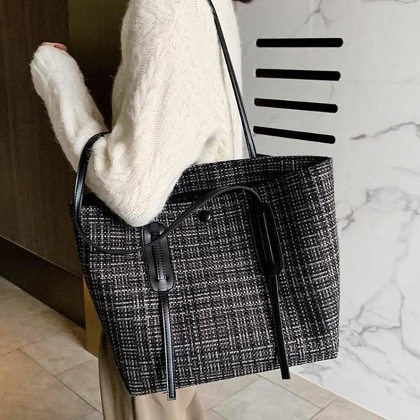 包包新款潮大容量側背包女士帆布包秋冬時尚手提包百搭托特包
