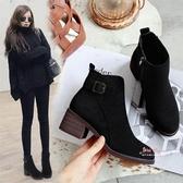 瘦瘦靴 靴子女短靴2019冬季新款高跟粗跟ins馬丁靴女短筒網紅瘦瘦靴棉鞋34-40碼 2色
