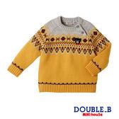 DOUBLE_B 黑熊北歐圖騰毛衣(芥末黃)