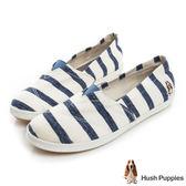 Hush Puppies 清爽條紋咖啡紗懶人鞋-深藍
