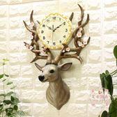 掛鐘 北歐鹿頭歐式大氣奢華裝飾靜音家用掛鐘