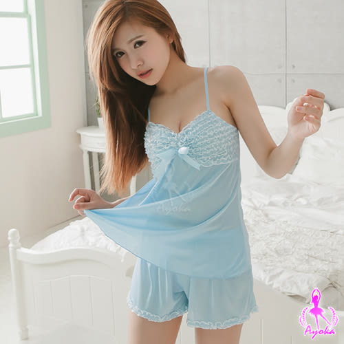 (特價) 水藍柔緞二件式短褲睡衣組 (OS shop)