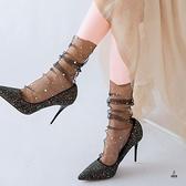3雙| 透明水晶襪薄款玻璃絲花邊中筒襪蕾絲長襪子女網紗【愛物及屋】