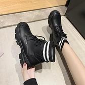 馬丁靴 馬丁靴女2021年新款春百搭英倫風透氣襪子靴厚底增高加絨短靴子【快速出貨八折優惠】