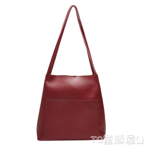 水桶包高級感洋氣包包女新款大容量簡約側背時尚質感百搭斜背水桶包 童趣屋