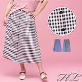 .GAG GLE超大尺碼.【18060027】撞色格紋排釦後伸縮腰長裙 2色