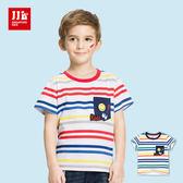 JJLKIDS 男童 笑臉藍眼睛條紋純棉短袖上衣 T恤(2色)