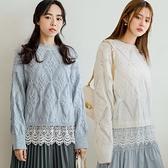 現貨-MIUSTAR 蕾絲下襬鏤空針織上衣(共3色)【NJ0300】
