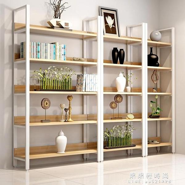 展示架/台 現代簡約鋼木書架置物架多層落地書櫃組合收納架儲物櫃展示架家用 果果輕時尚NMS
