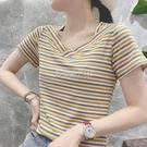 2021夏季V領條紋彩虹T恤女裝短袖韓版百搭體恤上衣一字肩潮 快速出貨