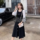 年秋冬新款法式方領復古純色顯瘦洋裝女打底裙子 街頭布衣