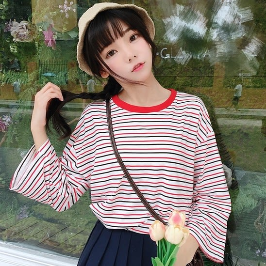 EASON SHOP(GU8087)實拍韓版撞色紅黑橫條紋圓領長袖T恤九分袖女上衣服落肩寬鬆顯瘦內搭衫棉T恤秋裝