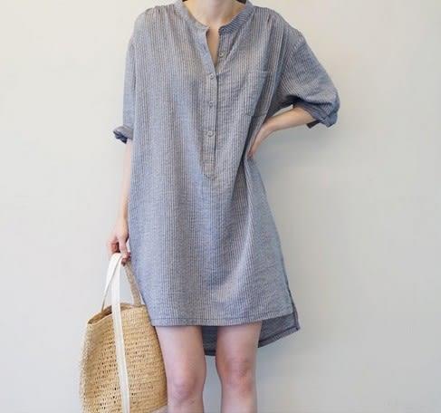 EASON SHOP(GU6563)中長款豎條紋棉麻落肩五分前短後長襯衫裙圓領短袖長版長款襯衫裙收腰洋裝
